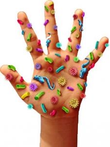 Hand mit symbolisierten Erregern