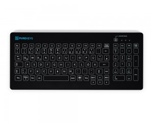 Purekeys 40404902 Kabellose kompakte Hygienetastatur schwarz Draufsicht