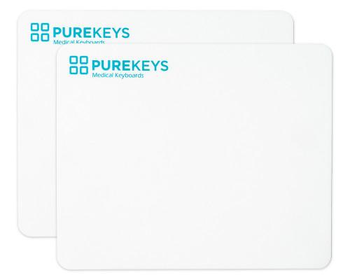 Zwei PUREKEYS Mousepads Frontalansicht